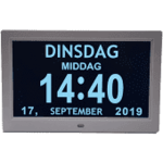 Dagklok met datum en ochtend en middag aanduiding