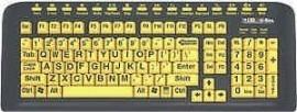 Toetsenbord-zwarte ondergrond gele letters