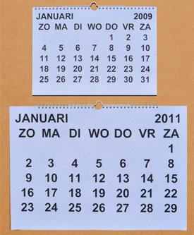 Grootletter maandkalender, A-4-2019