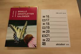 Braille/grootletter kalender2020
