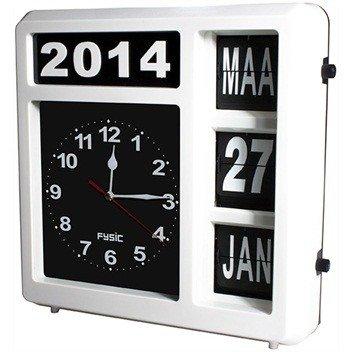 Jumbo analoge kalenderklok wit, ook voor op tafel.