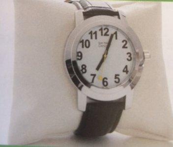 Engelssprekend horloge unisex, witte wijzerplaat met zwarte cijfers