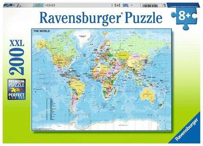 Voor slechtzienden, XXL puzzel wereldkaart, vergroting 8X