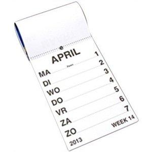 Weekkalender grootletter A-4-formaat